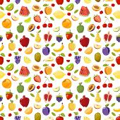 Miscellaneous vector fruits seamless pattern. Watermelon pomegranate pear and plum illustration poster