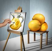 Make lemonade out of lemons positive motivational and inspirational quote symbol as a person interpreting a group of lemon fruits as a painting of a jug of lemonade as a concept fot optimism with 3D illustration elements. poster