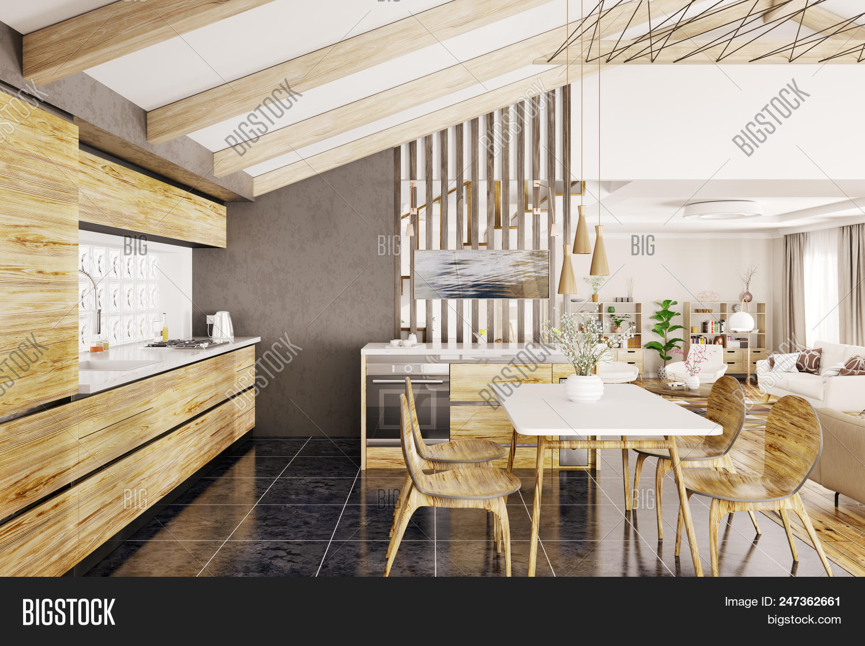 Interior Design Of Modern Wooden Kitchen In House 3d Rendering