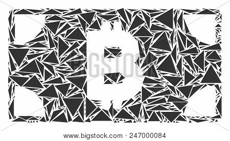 Bitcoin Cash Banknote Collage Of Triangle Elements In Different Sizes And Shapes. Vector Polygons Ar