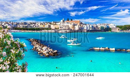 Italian holidays - beautiful Otranto with turquoise sea. Puglia