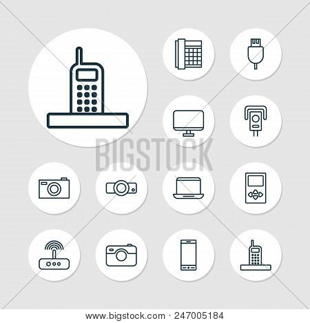 Device Icons Set With Smartphone, Modem, Media Device And Other Player Elements. Isolated Vector Ill
