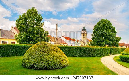 Town Park Greenery And Church Of Saint Lawrence In Dacice, Czech Republic.