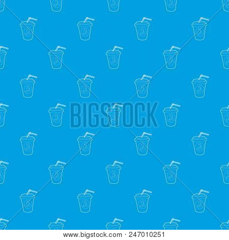 Plastic Cup Of Limonade Pattern Vector Seamless Blue Repeat For Any Use