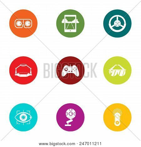 Advanced game icons set. Flat set of 9 advanced game vector icons for web isolated on white background poster