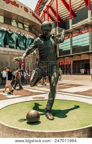 June 25th, 2018, Lisbon, Portugal - Eusebio Statue At Estadio Da Luz, The Stadium For Sport Lisboa E