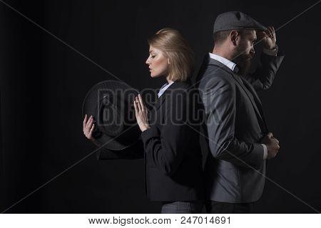 Fingerprinting To Solve Crimes. Old Fashioned Approach. Couple Detective Investigators Partners. Par