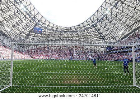 Marseille, France - June 21, 2016: Goal Gates Of The Stade Velodrome Stadium During The Uefa Euro 20