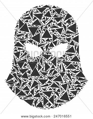 Terrorist Balaklava Mosaic Of Triangle Items In Different Sizes And Shapes. Vector Triangles Are Com