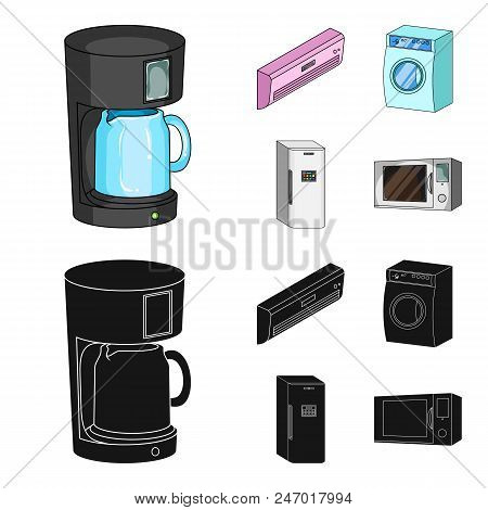 Home Appliances And Equipment Cartoon, Black Icons In Set Collection For Design.modern Household App
