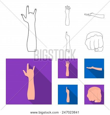 Sign Language Outline, Flat Icons In Set Collection For Design.emotional Part Of Communication Vecto