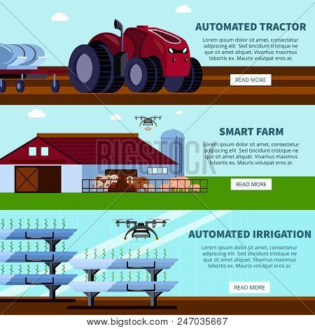 Smart farming with unmanned tractor, automated irrigation orthogonal flat banners on blue sky background isolated vector illustration poster