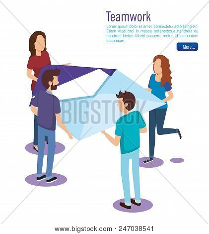 Isometric Envelope With People Vector Illustration Design