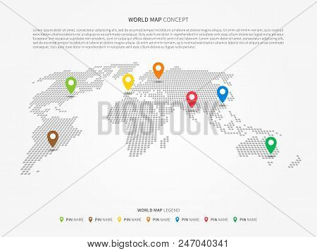 Perspective World Map Infographic With Colorful Pointers Vector Illustration. Modern Perspective Wor
