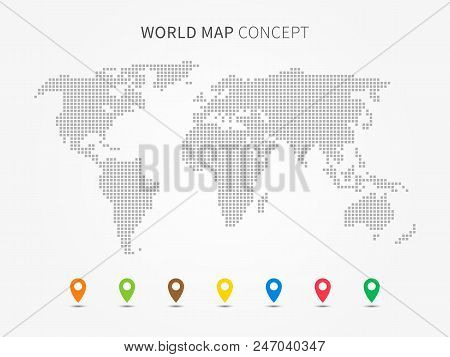World Map Infographic With Colorful Pointers Vector Illustration. Modern World Map With Pins Graphic