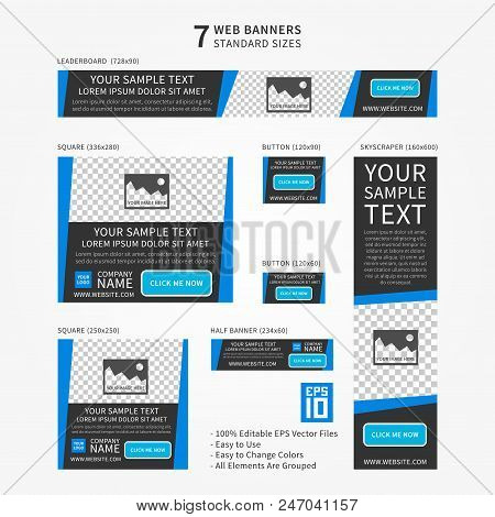 Advertising Web Banner Vector Template. Standard Size Ad Web Banners Set. Modern Ad Web Banner Templ