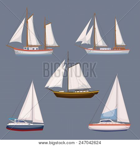 Super Set Of Water Carriage And Maritime Transport In Modern Cartoon Design Style. Ship, Boat, Vesse