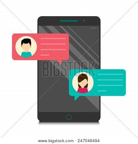 Man And Woman Chatting On Personal Cellphone That Have Chat Messages Notification On Smartphone Isol