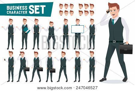 Business Characters Vector Set With Businessman Wearing Office Attire Talking On Phone And Have Diff