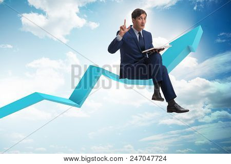Businessman in economic recovery concept.