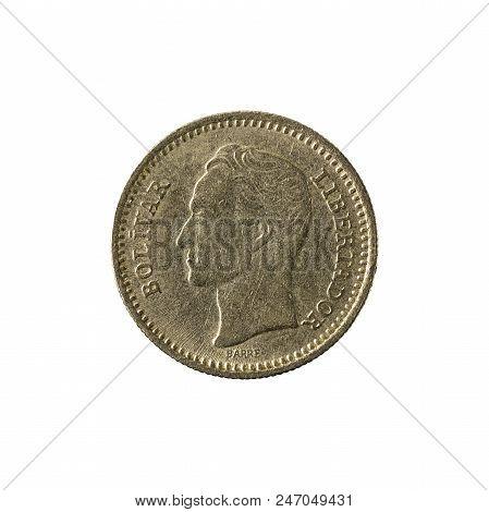 25 Venezuelan Centimos Coin (1965) Reverse Isolated On White Background