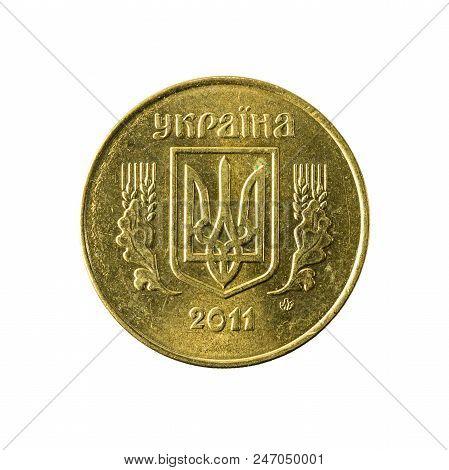25 Ukrainian Kopiyka Coin (2011) Reverse Isolated On White Background
