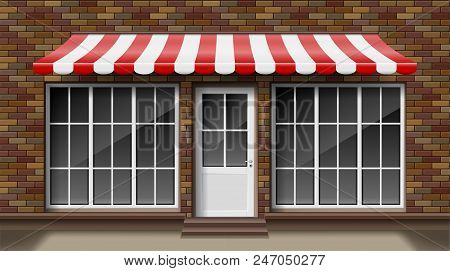 Brick Small 3d Store Front Facade Template With Awning. Exterior Empty Shop Or Boutique With Big Win