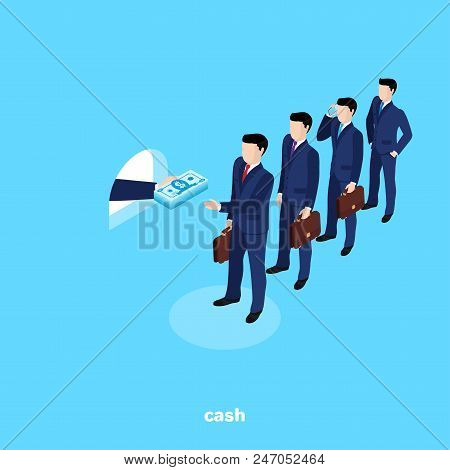 Men In Business Suits Stand In Line To The Cash Desk From Which They Give Out Cash, Isometric Image