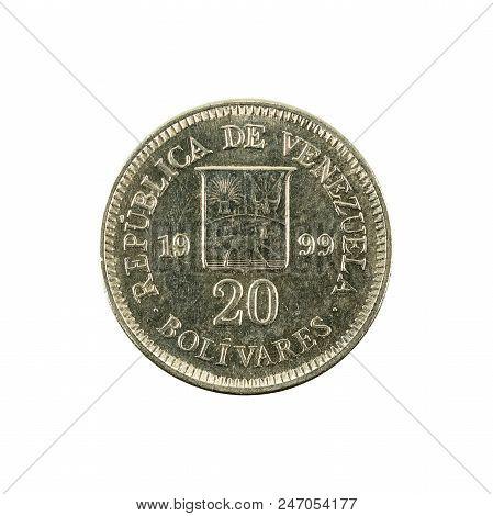 20 Venezuelan Bolivar Coin (1999) Obverse Isolated On White Background