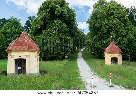 Way Uphill To The Pilgrimage Church Of Schoenenberg In Ellwangen At The Summer