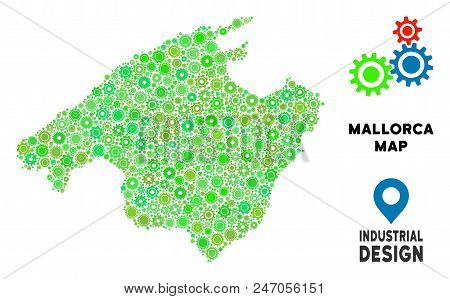Gear Spain Mallorca Island Map Mosaic Of Small Gearwheels. Abstract Geographic Scheme In Green Color