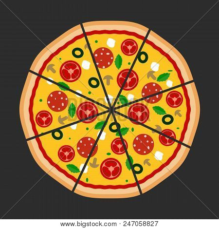 Pizza Flat Icons Isolated On Dark Background. Pizza Food Silhouette. Pizza Piece, Pizza Slice. Pizza
