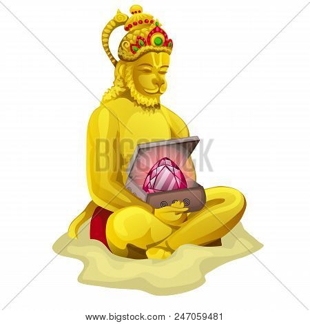Sculpture of Nrsimha or Narasimha isolated on white background. Vector cartoon. poster