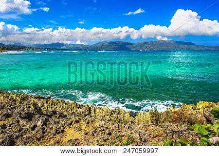Exotic Water Landscape With Clouds On Horizon. Natural Tropical Water Paradise. Dominican Republic N