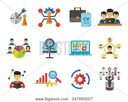 Consulting Icon Set. Changes Adaption Control Monitoring Strategic Management Strategy Focus Workflow Team Cohesion Team Creation Team Development Leader Training Electorate Bar Chart And Magnifier poster