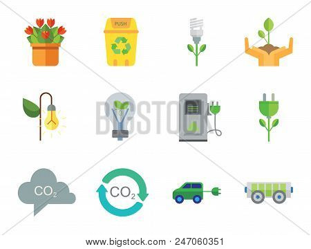 Eco Icon Set. Electrocart Flowers Electrocar Carbon Dioxide Cycle Co2 In Cloud Eco-friendly Lightbul