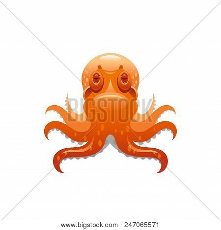 Sea Travel Vector Symbol Isolated On White Background. Octopus Cephalopod 3d Vacation Illustration.