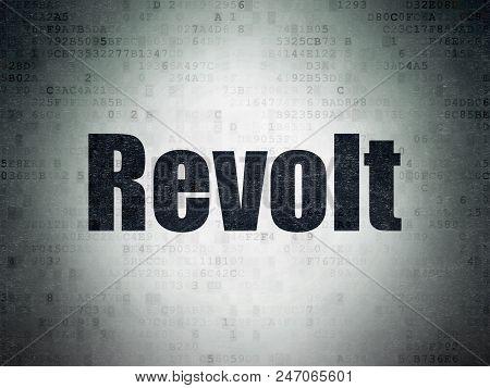 Political Concept: Painted Black Word Revolt On Digital Data Paper Background