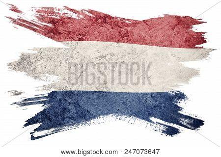 Grunge Nederland Flag. Nederlands Flag With Grunge Texture. Brush Stroke.