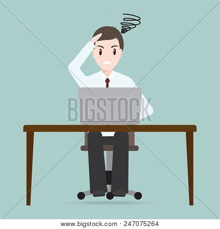 Man Sitting Front Of Computer On Work Table Icon
