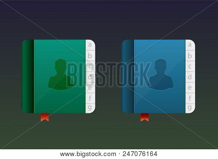 Telephone directory, vector icon. Telephone book ingreen and blue color poster