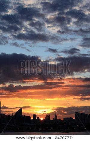 Sunset over London City
