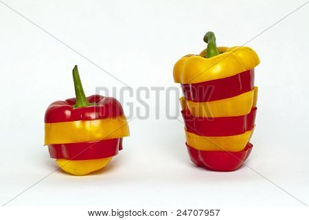 Bell pepper cut stacked rea and yellow