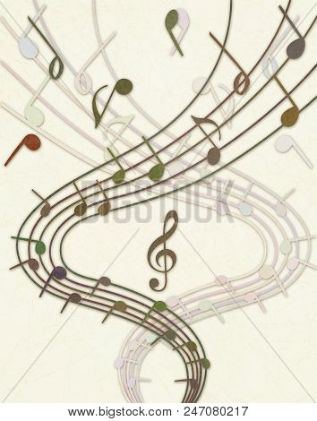 Extravaganza Of Music. Stave And Notes On Light Background. Picture On Marble Paper, Scratched Pale