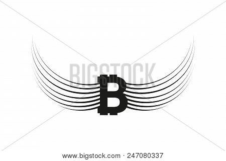 Bitcoin Cripto Currency Blockchain. Bitcoin Flat Logo On Whitebackground. Bitcoin With Wings.