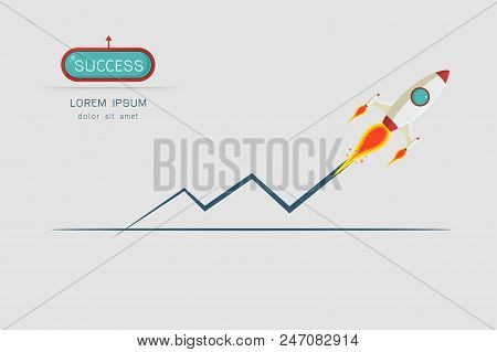 Rocket Launch. Concept. Start Up Business And Promotion For Success. Rocket And The Space Infographi