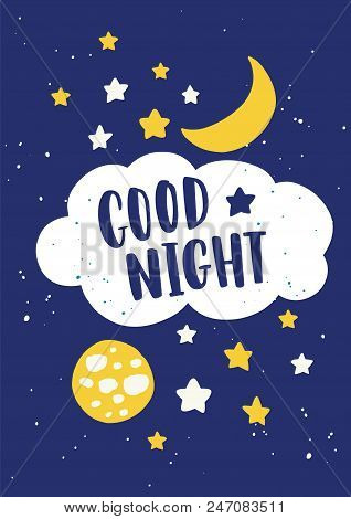 Beautiful Poster Template For Baby's Room With Crescent, Moon In Sky, Stars, Clouds And Good Night L