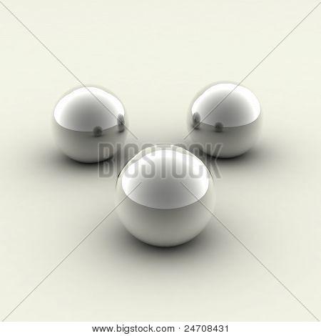 three chrome balls
