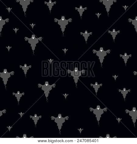 Halloween Seamless Scary Ghost Isolated. Black Halloween Seamless. Halloween Seamless Vector. Hallow