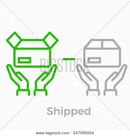 Order Delivery And Logistics Line Icon For Online Shop Web Design. Vector Symbol Of Order Box And Ha